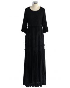 Vestido largo bordado de Grace Vines en negro