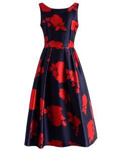 Vestido de fiesta Rose Impression en azul marino