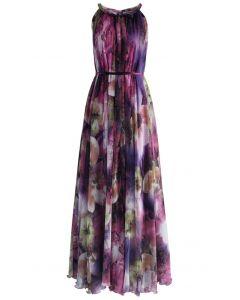 Vestido misterioso maxi slip morado floral