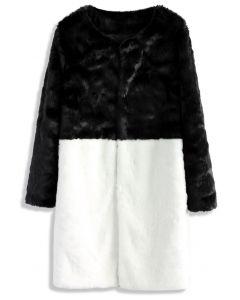 Atractivo Abrigo Blanco y Negro en Piel Sintética
