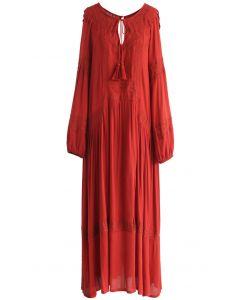 Vestido largo bordado Boho Ease