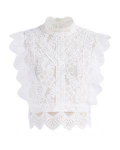 Fresca Blusa Blanca Sin Mangas en Encaje y Ganchillo