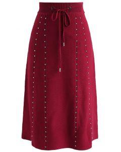Falda con forro de punto en relieve galante en rojo