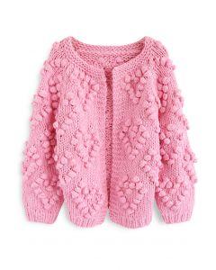 Cárdigan de punto de amor en rosa intenso