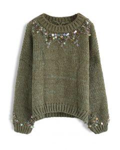 Suéter de Punto Verde Oscuro con Detalles de Lentejuelas en Cuello y Puños