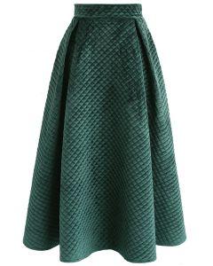 Sofisticada Falda Verde Oscuro en Terciopelo Acolchado