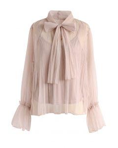 Encantadora Blusa Color Crema de Gasa con Mo?o en el Cuello