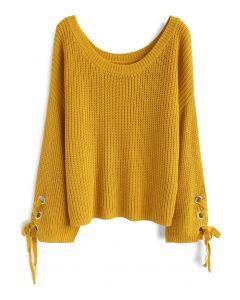 Cómodo Suéter de Punto Acanalado Color Mostaza con Cintas en las Mangas