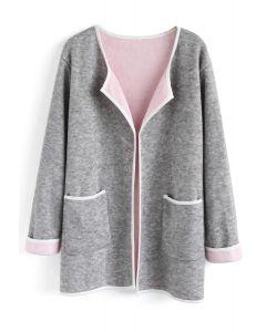 Cómodo abrigo abierto de punto con frente abierto en gris
