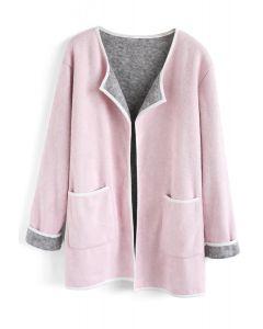 Cómodo abrigo abierto de punto con frente abierto en rosa
