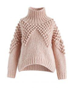 Suéter de cuello alto Pom-Pom tan alegre como tú