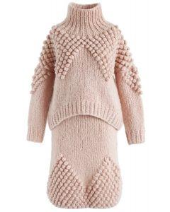 Conjunto de suéter y falda de cuello alto de Pom-Pom tan alegre como tú