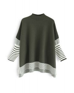 Acuéstate en un suéter de punto de rayas extragrandes de Olive Fields