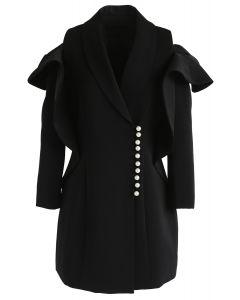 Vestido de abrigo con hombros descubiertos y cuello en V de Shining Pearls en negro