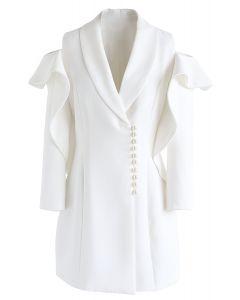Vestido de perlas brillantes con cuello en V y hombros fríos en blanco