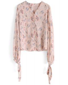 Blusa Rosa Piel en Chifón con Delicado Estampado Floral y Cuello en V