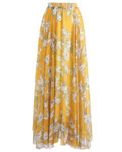 Falda larga de gasa de temporada de flores en amarillo