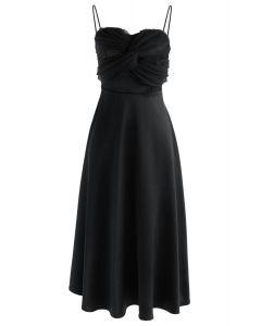 Vestido camisero de seda en negro
