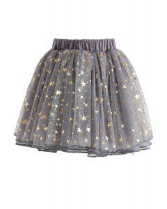 Falda de tul Twinkle Star Mesh en gris para niños