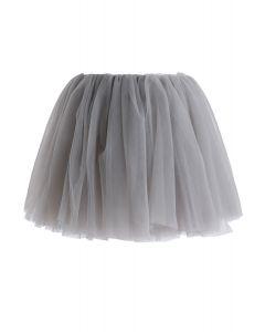 Falda de tul de malla Amore en gris para niños