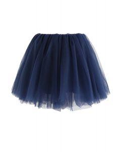 Falda de tul de malla Amore en azul marino para niños