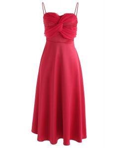 Vestido camisero de seda en rojo