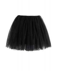 Falda de tul de malla Amore en negro para niños
