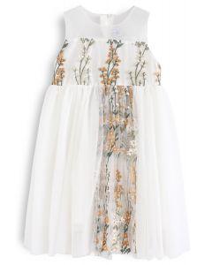 Vestido de malla bordado sin mangas Little Darling en crema para niños