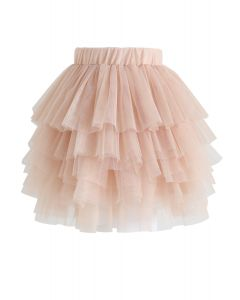 Falda de tul en capas Love Me More en rosa nude para niños
