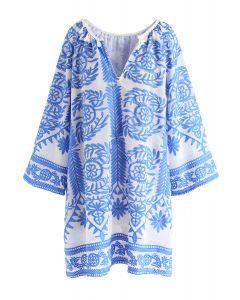 Vestido bordado en azul de Touch The Skyline Boho
