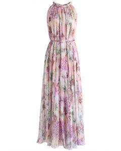 Vestido largo sin mangas de gasa con flores de girasol
