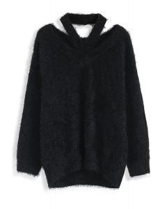 Suéter de punto con hombros fríos y esponjoso Keep Me Cozy en negro