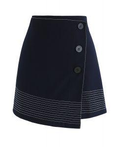 Falda con solapa de trabajo en azul marino
