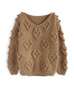 Suéter con cuello en V de punto de Love in Tan