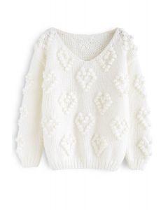 Suéter con cuello en V de punto de su amor en blanco