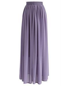Maxi Falda con Pliegues en Color Violeta