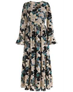 Vestido largo floral con estampado de lirios fragantes