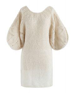 Lo que soñamos Vestido recto mullido tejido a mano con mangas de burbujas