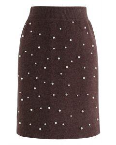 Falda tejida Eternal Pearls en marrón