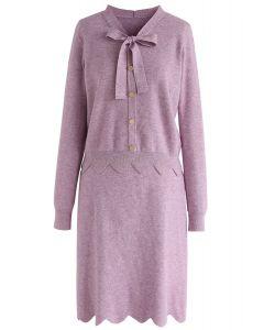 Conjunto de falda y top de punto Passing Dreams en lila
