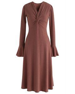 Vestido de punto ligero y retorcido en rojo marrón