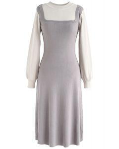 Elegante vestido de punto de dos piezas falso de Identity en gris