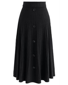 Falda midi de punto Daily Essential en negro