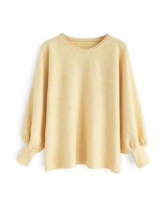 Dreamy Macaron Bubble Sleeves Knit Sweater in Yellow