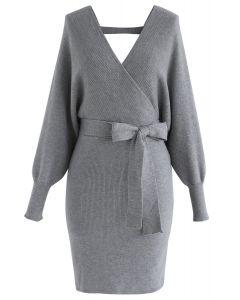 Vestido de punto envuelto Allure moderno en gris