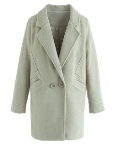 Abrigo de mezcla de lana Take the the Challenge en verde guisante