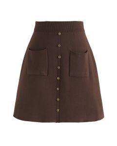 Minifalda de punto Charm in This Way en marrón