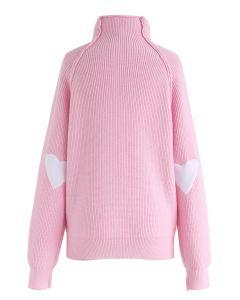 Suéter de punto con parche de corazón y alma en rosa