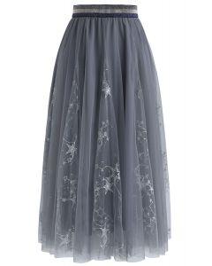 Falda midi de tul de Dazzling Stars en gris