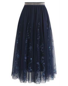 Falda midi de tul de Dazzling Stars en azul marino
